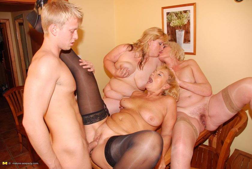 Lucky dude fucking and cumshoting three blonde mature ladies